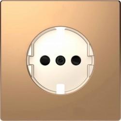 Накладка на розетку Schneider Electric MERTEN D-LIFE, с заземлением, со шторками, шампань, MTN2330-6051