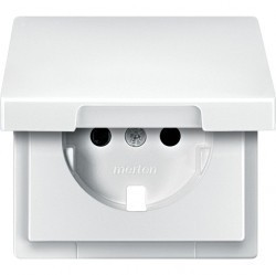 Накладка на розетку Schneider Electric MERTEN SYSTEM DESIGN, с заземлением, со шторками, с крышкой, полярно-белый, MTN2340-4019