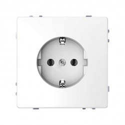 Розетка Schneider Electric D-LIFE, скрытый монтаж, с заземлением, со шторками, белый, MTN2400-6035