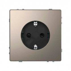 Розетка Schneider Electric D-LIFE, скрытый монтаж, с заземлением, со шторками, никель, MTN2400-6050