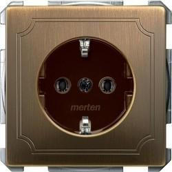 Розетка Schneider Electric SYSTEM DESIGN, скрытый монтаж, с заземлением, со шторками, античная латунь, MTN2401-4143