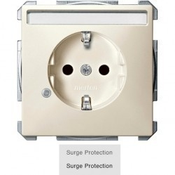 Розетка Schneider Electric SYSTEM DESIGN, скрытый монтаж, с заземлением, со шторками, бежевый, MTN2405-4044