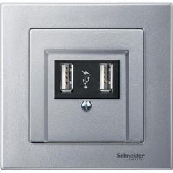 Накладка на розетку USB Schneider Electric MERTEN SYSTEM M, алюминий, MTN297960