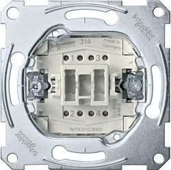 Механизм выключателя 1-клавишного двухполюсного Schneider Electric Коллекции Merten, скрытый монтаж, MTN3112-0000