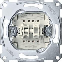 Механизм выключателя 2-клавишного Schneider Electric Коллекции Merten, скрытый монтаж, MTN3115-0000
