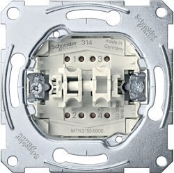Механизм выключателя 2-клавишного кнопочного Schneider Electric Коллекции Merten, скрытый монтаж, MTN3155-0000
