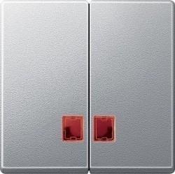 Клавиша двойная с линзами Schneider Electric MERTEN SYSTEM M, алюминий, MTN3456-0460