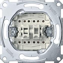 Механизм переключателя 2-клавишного Schneider Electric Коллекции Merten, скрытый монтаж, MTN3626-0000