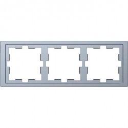 Рамка 3 поста Schneider Electric MERTEN D-LIFE, нержавеющая сталь, MTN4030-6536
