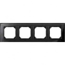 Рамка 4 поста Schneider Electric MERTEN M-ELEGANCE, черный оникс, MTN404403