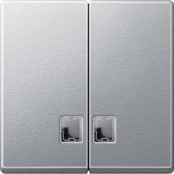 Клавиша двойная с линзами Schneider Electric MERTEN SYSTEM M, алюминий, MTN437560