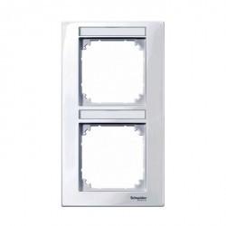 Рамка 2 поста Schneider Electric MERTEN M-SMART, вертикальная, бежевый блестящий, MTN470244