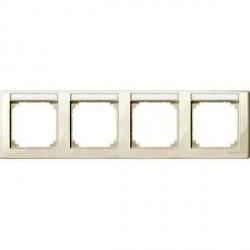 Рамка 4 поста Schneider Electric MERTEN M-SMART, горизонтальная, бежевый блестящий, MTN471444