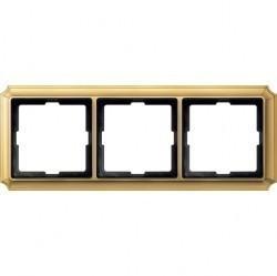 Рамка 3 поста Schneider Electric MERTEN ANTIQUE, блестящая латунь, MTN483321