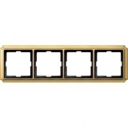 Рамка 4 поста Schneider Electric MERTEN ANTIQUE, блестящая латунь, MTN483421