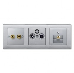 Рамка 3 поста Schneider Electric MERTEN M-PLAN, алюминий, MTN486360