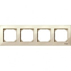 Рамка 4 поста Schneider Electric MERTEN M-PLAN, бежевый блестящий, MTN515444