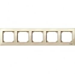 Рамка 5 постов Schneider Electric MERTEN M-PLAN, бежевый блестящий, MTN515544