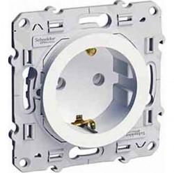 Розетка Schneider Electric ODACE, скрытый монтаж, с заземлением, со шторками, глянцевый, S52R037