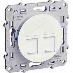 Розетка 2xRJ45 Cat.5 Schneider Electric ODACE, глянцевый, S52R481