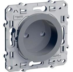 Розетка Schneider Electric ODACE, скрытый монтаж, с заземлением, со шторками, алюминий, S53R033