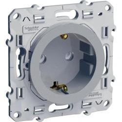 Розетка Schneider Electric ODACE, скрытый монтаж, с заземлением, со шторками, алюминий, S53R037