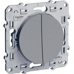 Выключатель 2-клавишный Schneider Electric ODACE, скрытый монтаж, алюминий, S53R211
