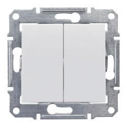 Выключатель 2-клавишный Schneider Electric SEDNA, скрытый монтаж, белый, SDN0300121