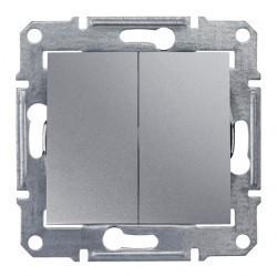 Переключатель 2-клавишный Schneider Electric SEDNA, скрытый монтаж, алюминий, SDN0600160