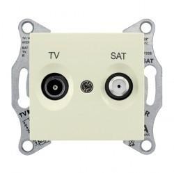 Розетка TV-SAT Schneider Electric SEDNA, оконечная, бежевый, SDN3401647