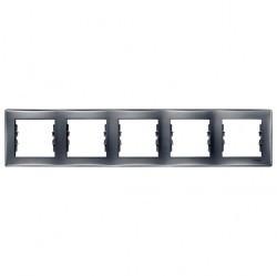 Рамка 5 постов Schneider Electric SEDNA, горизонтальная, алюминий, SDN5800960