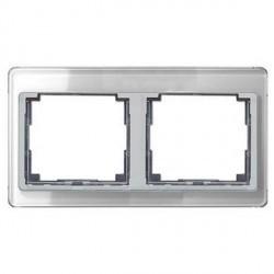 Рамка 2 поста Jung SL 500, горизонтальная, серебристый, SL5820SI