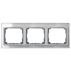 Рамка 3 поста Jung SL 500, горизонтальная, серебристый, SL5830SI