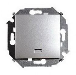 Выключатель 1-клавишный Simon SIMON 15, с подсветкой, скрытый монтаж, алюминий, 1591104-033
