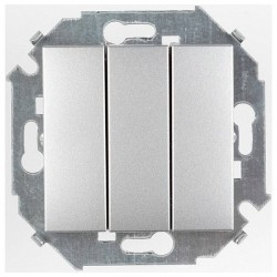 Выключатель 3-клавишный Simon SIMON 15, скрытый монтаж, алюминий, 1591391-033