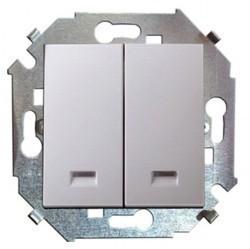 Выключатель 2-клавишный кнопочный Simon SIMON 15, скрытый монтаж, белый, 1591392-030