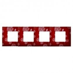 Рамка 4 поста Simon SIMON 27 PLAY, красный/белый, 2700647-803