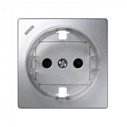 Накладка на розетку Simon SIMON 73 LOFT, с заземлением, со шторками, алюминий, 73041-63