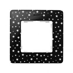 Рамка 1 пост Simon SIMON 82 DETAIL, черный/белые звезды, 8200610-222