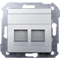 Накладка на розетку информационную Simon SIMON 82, алюминий, 82006-33