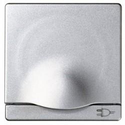 Накладка на розетку Simon SIMON 82, с заземлением, с крышкой, алюминий, 82090-93