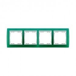 Рамка 4 поста Simon SIMON 82, зеленый полупрозрачный, 82643-65